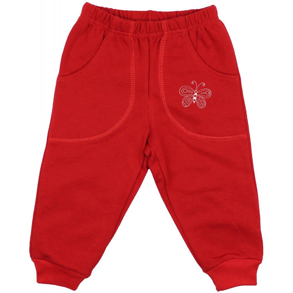 Pantaloni trening groși roșii cu buzunar imprimeu fluturaș | liloo