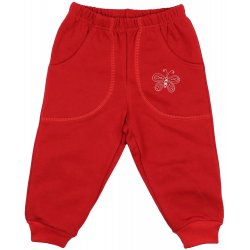 Red thick joggers with butterfly print