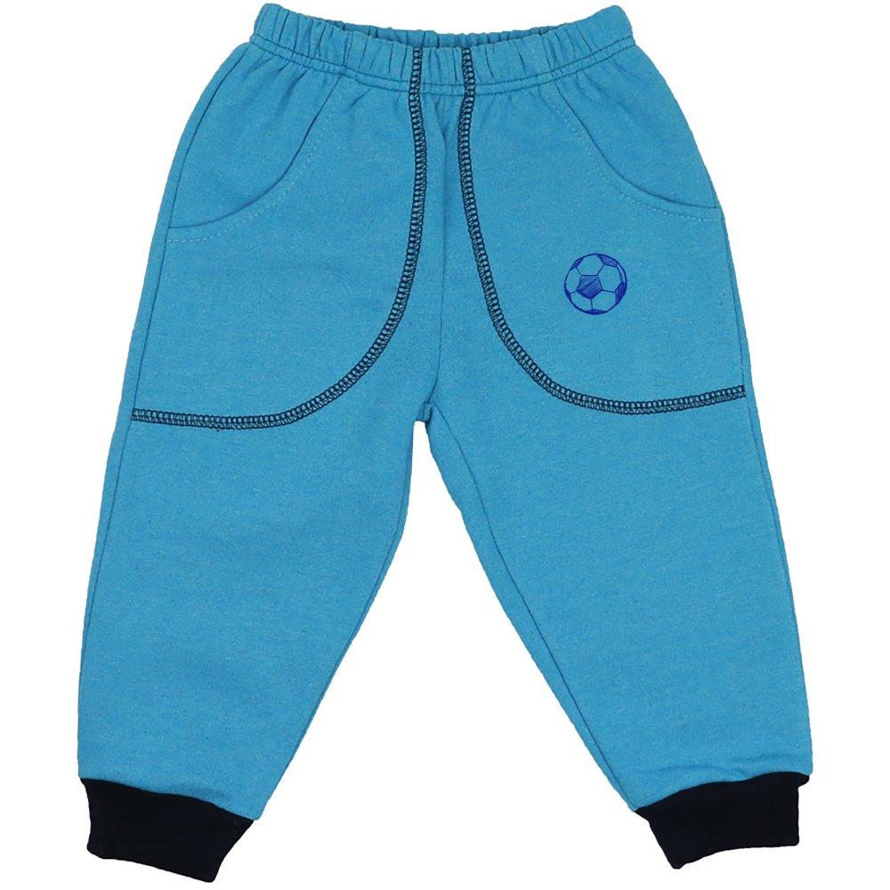 Pantaloni trening groși turcoaz cu buzunar imprimeu minge fotbal | liloo