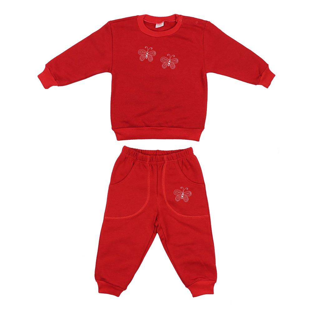 Costum trening gros roșu imprimeu fluturași | liloo