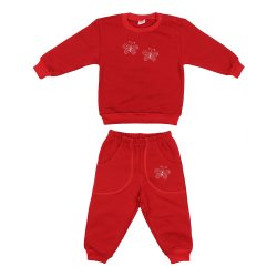 Red thick sport outfit with buterflies print