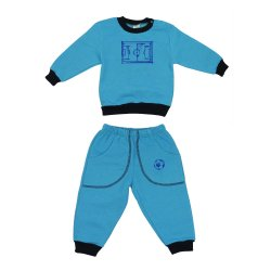 Turquoise thick sport outfit with football print