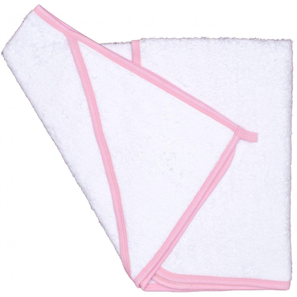 Prosop mic cu glugă - alb cu bordaj roz | liloo