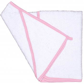 Prosop mic cu glugă - alb cu bordaj roz