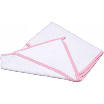 Prosop mare cu glugă - alb bordaj roz