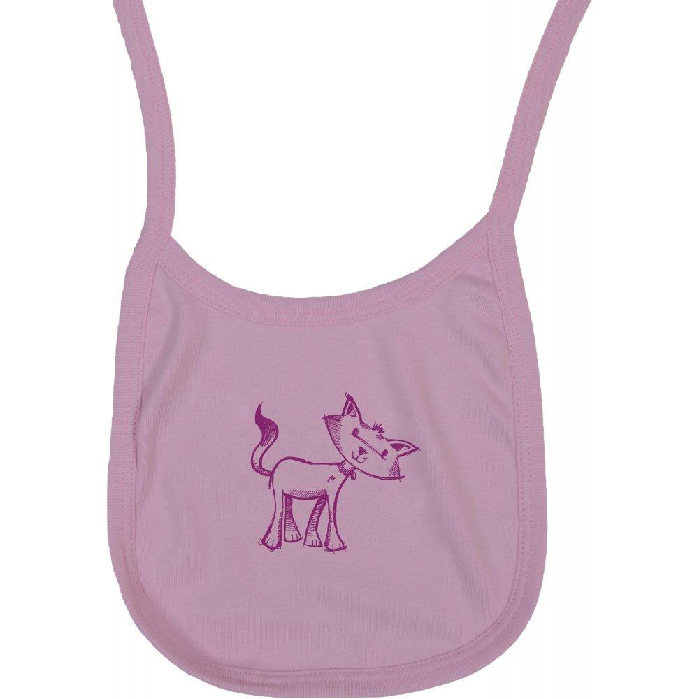 Bavetica (barbita) roz imprimeu pisica | liloo