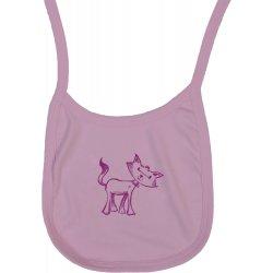 Bavețică (bărbiță) roz imprimeu pisica