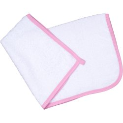 White hand towel - pink trim