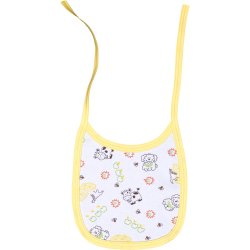 Little animals allover print & yellow trim bib