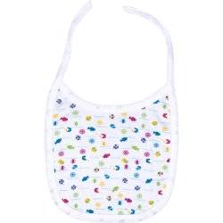White bib with fish allover print