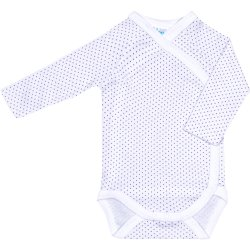 White side-snaps long-sleeve bodysuit with purple dots