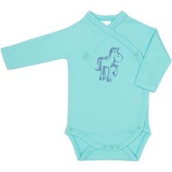 Aqua side-snaps long-sleeve bodysuit with pony print