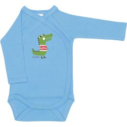 Azure side-snaps long-sleeve bodysuit with aligator print
