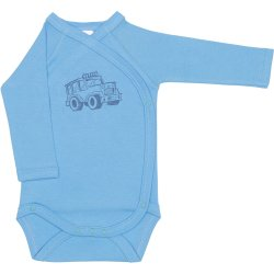 Azure side-snaps long-sleeve bodysuit with 4x4 car print