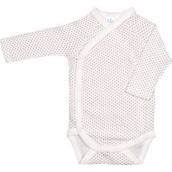 Cream side-snaps long-sleeve bodysuit with brown dots