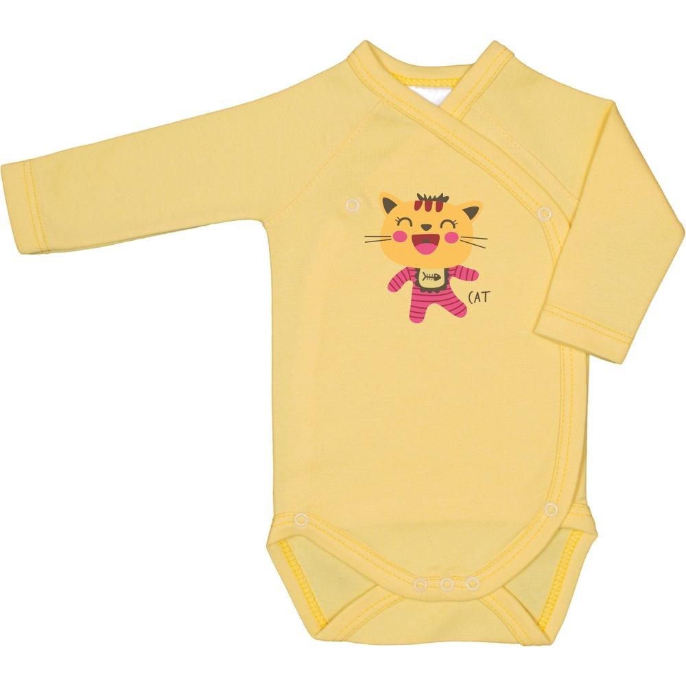 Body capse laterale mânecă lungă galben imprimeu pisicuță șmecheră | liloo