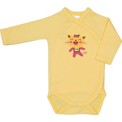 Yellow side-snaps long-sleeve bodysuit with cool cat print
