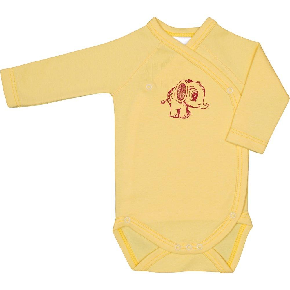 Body capse laterale mânecă lungă galben imprimeu elefănțel | liloo