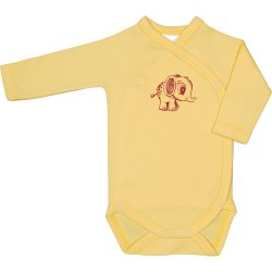 Yellow side-snaps long-sleeve bodysuit with elephant print