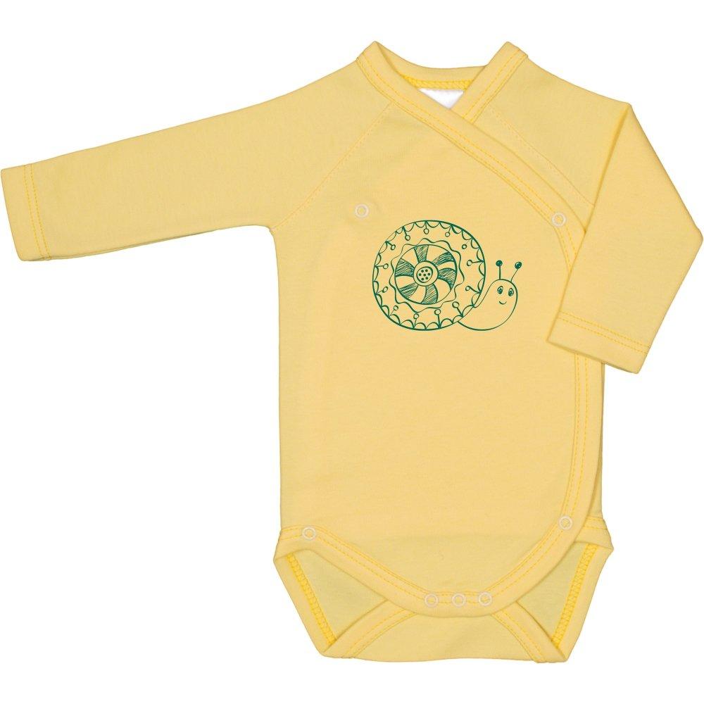 Body capse laterale mânecă lungă galben imprimeu melc | liloo