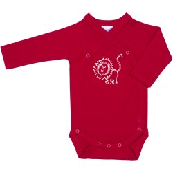 Red side-snaps long-sleeve bodysuit with lion cub print