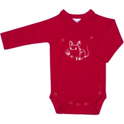 Red side-snaps long-sleeve bodysuit with mouse print