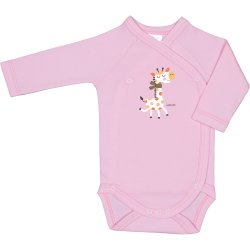 Pink side-snaps long-sleeve bodysuit with giraffe print