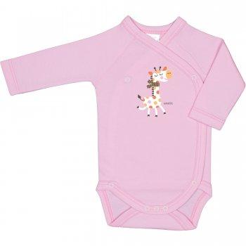 Body capse laterale mânecă lungă roz imprimeu girafă