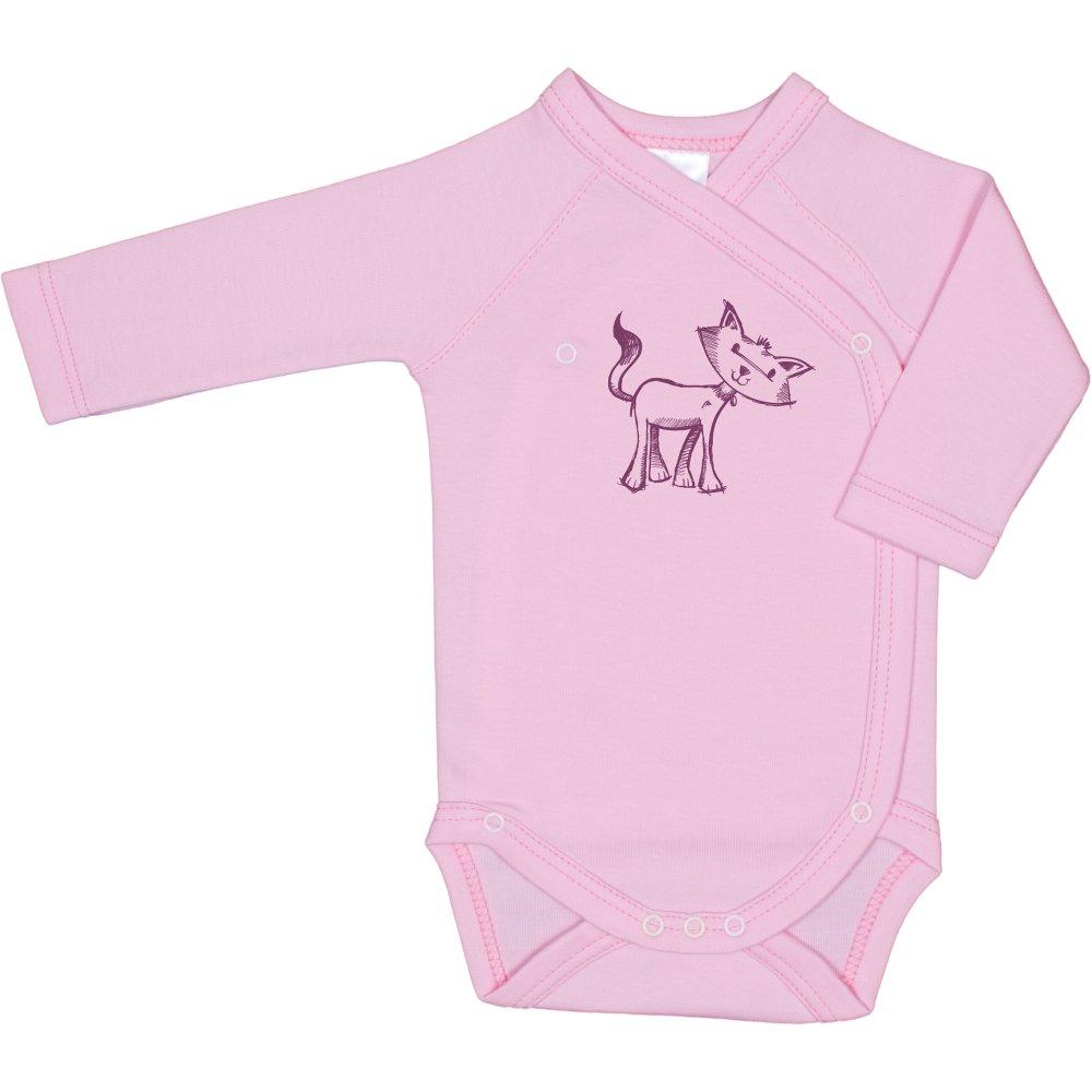 Body capse laterale mânecă lungă roz imprimeu pisicuță | liloo