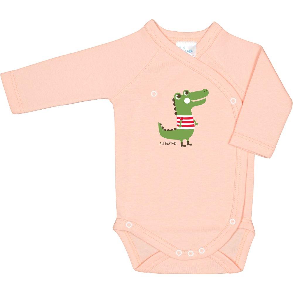 Body capse laterale mânecă lungă somon imprimeu aligator | liloo
