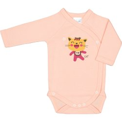 Salmon side-snaps long-sleeve bodysuit with cool cat print