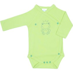Lime green side-snaps long-sleeve bodysuit with frog print