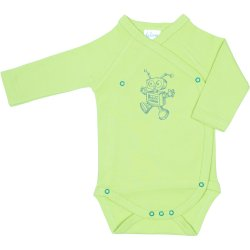 Lime green side-snaps long-sleeve bodysuit with robot print