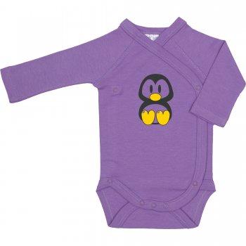Body capse laterale mânecă lungă violet imprimeu pinguinul Tux