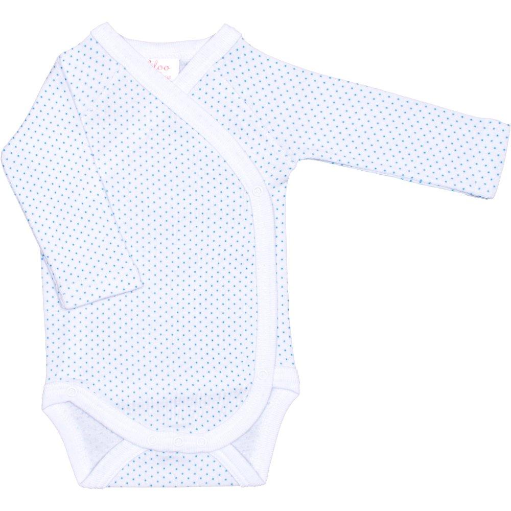Body capse laterale mânecă lungă alb buline azur | liloo