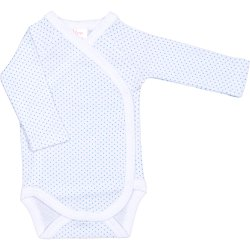White side-snaps long-sleeve bodysuit with azure dots