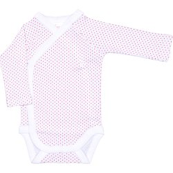 White side-snaps long-sleeve bodysuit with red dots