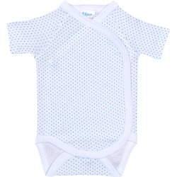 White side-snaps short-sleeve bodysuit with azure dots