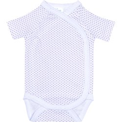 White side-snaps short-sleeve bodysuit with purple dots
