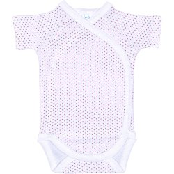 White side-snaps short-sleeve bodysuit with red dots