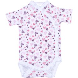 White side-snaps short-sleeve bodysuit with hearts allover print