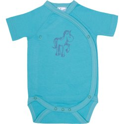 Aqua side-snaps short-sleeve bodysuit with pony print
