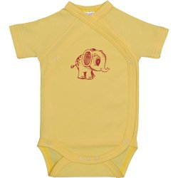 Yellow side-snaps short-sleeve bodysuit with elephant print