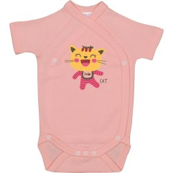 Salmon side-snaps short-sleeve bodysuit with cool cat print