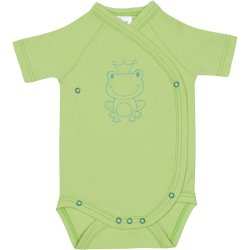 Lime green side-snaps short-sleeve bodysuit with frog print