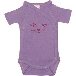 Violet side-snaps short-sleeve bodysuit with cat face print