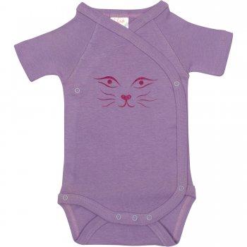 Body capse laterale mânecă scurtă violet imprimeu față pisică | liloo