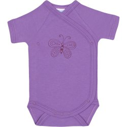 Violet side-snaps short-sleeve bodysuit with butterfly print