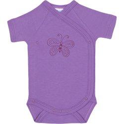 Body capse laterale mânecă scurtă violet imprimeu fluturaș