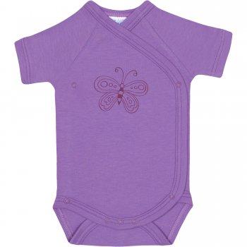 Body capse laterale mânecă scurtă violet imprimeu fluturaș | liloo